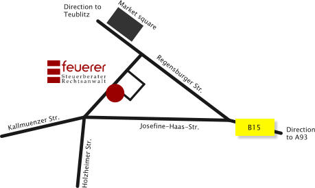 Market square Direction to Teublitz B15 Direction to A93 Regensburger Str. Josefine-Haas-Str. Holzheimer Str. Kallmuenzer Str.